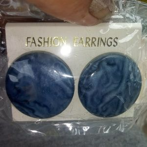 New in pkg retro earrings blue